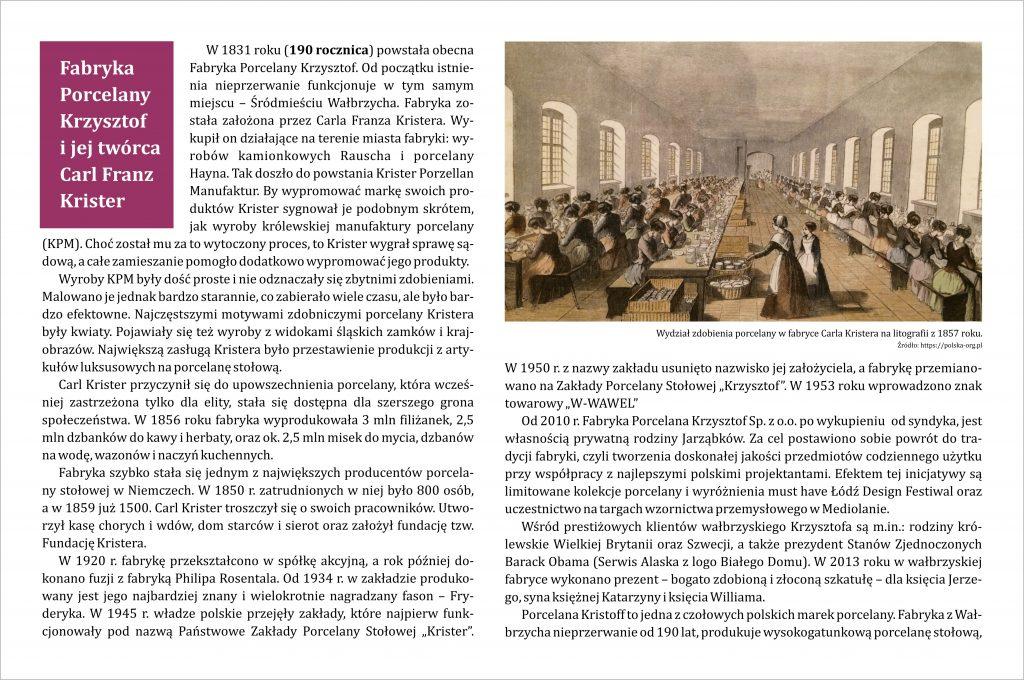 Grafika z tekstem na temat Fabryki Porcelany Krzysztof i jej twórcy Carla Franza Kristera
