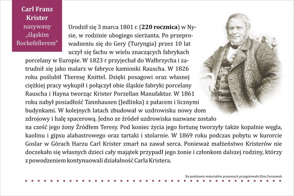 Grafika z tekstem na temat Carla Franza Kristera