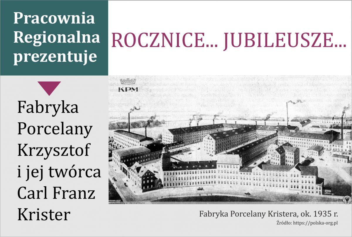 Winieta wystawy Fabryka Porcelany Krzysztof i jej twórca Carl Franz Krister